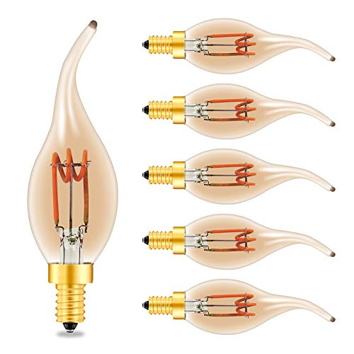 Beilf Spiral Filament LED Vintage E14 Small Edison Screw Candle Light Bulbs, 3W Dimmable, Bent Flame Tip, Flicker Free,Amber Glass,Warm White 2200K,High CRI95, 6 Pack[Energy Class A+]