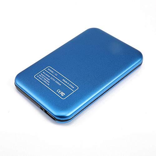 CNmuca Caixa de disco rígido móvel Sata de 2,5 polegadas Caixa de disco rígido móvel Usb3.0 Tampa deslizante Textura da grade Caixa de disco rígido móvel azul 640G