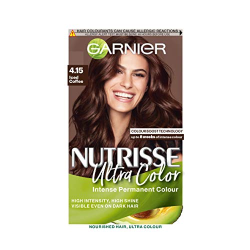 Garnier Nutrisse Brown Hair Dye Permanent, Up to 100 Percent Grey Hair Coverage, with NEW 5 Oils Conditioner - 4.15 Ultra Iced Coffee Brown