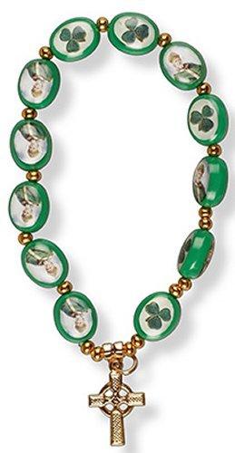Glass Shamrock - Rosary Bracelet with Shamrock, St. Patrick Beads & Celtic Cross Bracelet.
