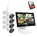 ANNKE 4CH 1080P FHD WiFi Wireless CCTV Camera System with 10.1'' LCD Monitor, Support 5MP Wireless IP Camera, Audio Recording, IR Night Vision, Plug & Play, 1TB Hard Drive