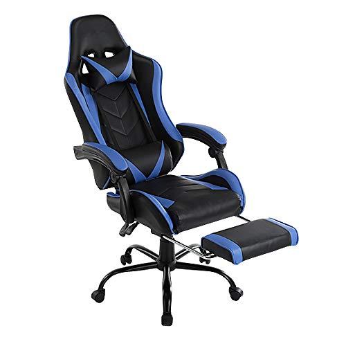 Sedia da Gaming Racing con poggiapiedi ergonomica in Similpelle Grigio//Blu//Nero Girevole Aufun con braccioli Regolabile in Altezza