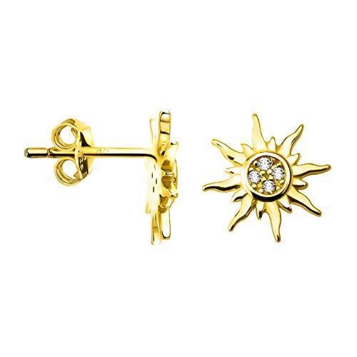 SOFIA MILANI - Orecchini da Donna in Argento 925 - Placcati in Oro e con Pietra Zircone - Orecchini a Perno a Stella Sole - 20554
