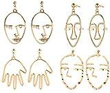 GUUTUUG Cara Pendientes de Oro Abstractos de declaración - 4 Pares Vintage hipoalergénico Dangle Stud para niñas Adolescentes Mujeres (8...