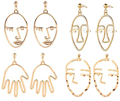 GUUTUUG Face Abstract Gold Statement Earrings - 4 Pair Vintage Hypoallergenic Dangle Stud for Girls Teens Women (8 Pcs)