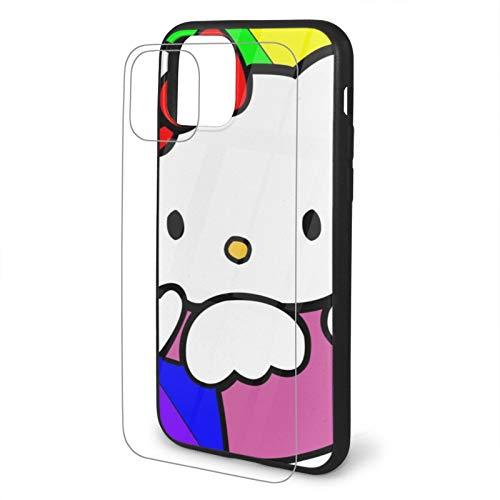 VOROY Funda para iPhone 11 Pro Max-6.5 con diseño de gato anime Hellokitty A-P-P-L-E 11