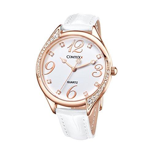 Comtex Damen Armbanduhr Strass Analog Quarz mit Leder Armband S128RG Rose Gold