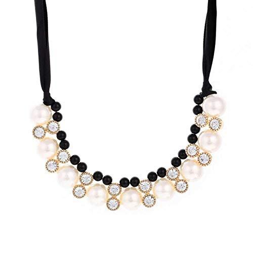 Punk Collar de Gargantilla de Perlas de múltiples Capas Collar de declaración Blace Cuerda Cadena Collar de Cristal Colgante Mujer Regalo de joyería