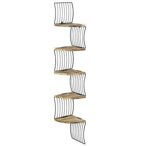 Love-KANKEI Estantería esquinera de madera con 5 estantes, estilo vintage, para cocina, dormitorio, salón, oficina, etc. (marrón)