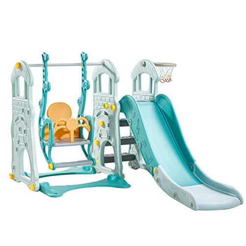 HAPPYMATY Torre de juego 3 en 1, columpio y canasta de baloncesto en un parque infantil, casa de juegos para interiores, tobogán para niños