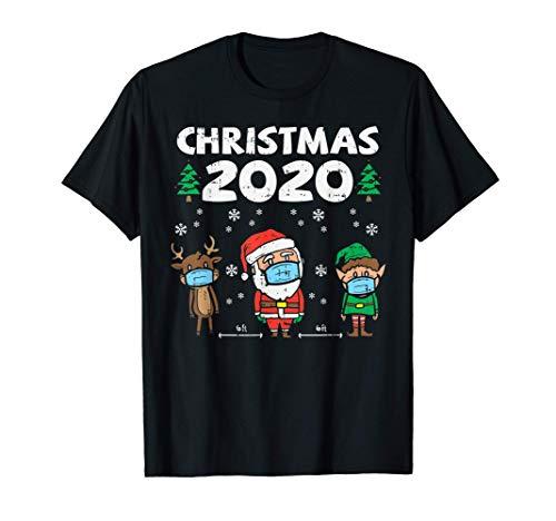 Christmas 2020 Reindeer Santa Elf Mask 6 Ft Quarantine Gift T-Shirt