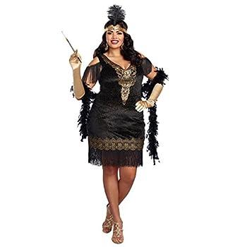 Dreamgirl Women s Swanky Flapper Plus Size Black/Gold 2X