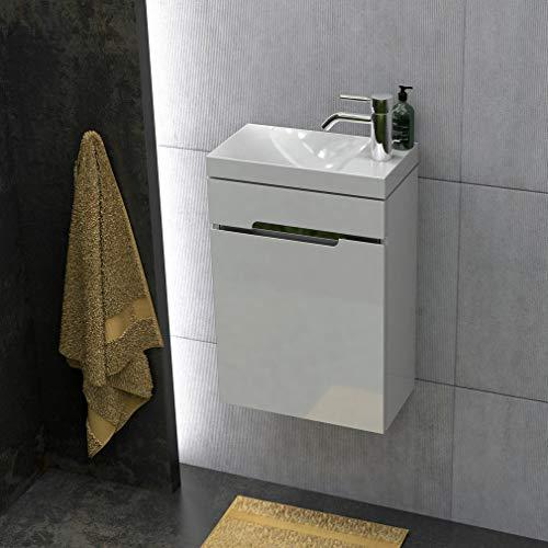 Quentis Badmöbel Gäste-WC Set Sivas, Breite 40 cm, Waschbecken mit Unterschrank, weiß glänzend, Waschbeckenunterschrank montiert