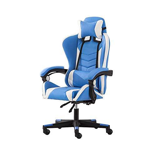 CHRISTI Computer Stuhl Racing Gaming Stuhl mit Massage-Funktion High Back Racing Stuhl höhenverstellbar Ergonomischer Büro-Schreibtisch-Stuhl mit Kopfstütze und Rückenstütze, Blau Weiß