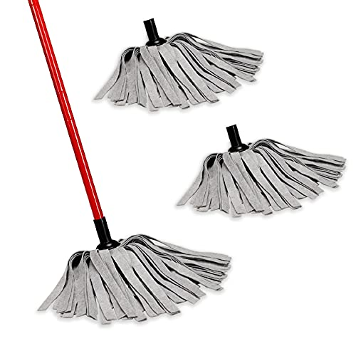 AKOMA Wet Mop with 3pcs Washable Heads, Reusable Dust Mops for Floor Cleaning Hardwood Tile Laminate and More, Easy to Use Mopping Perfect Cleaner Household Kitchen Office