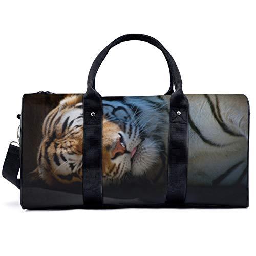 Bolsa de deporte para gimnasio, diseño de tigre con rayas y gato grande depredador, bolsa de hombro, bolsa de viaje, bolsa de viaje para hombres y mujeres