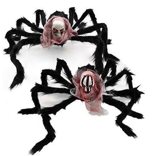 WASAIO Schwarz Big Spider Halloween Dekoration Spukhaus Requisiten Simulation Schädel Plüsch Spinne