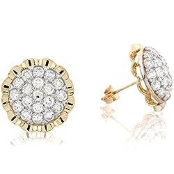 10k Real Gold Rhodium Beautiful Cluster Pin Post Earring