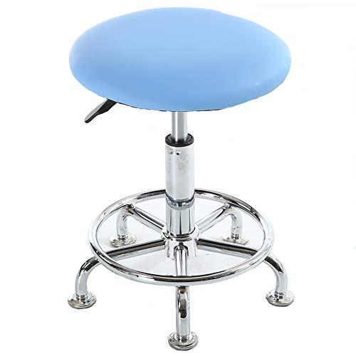DLMPT Bureaustoel, directiestoel, draaistoel, in hoogte verstelbaar, draaibaar, 360 graden draaibaar, geschikt voor keuken, kantoor, schoonheidssalon, tattoo, kapsalon, blauw, zonder wielen