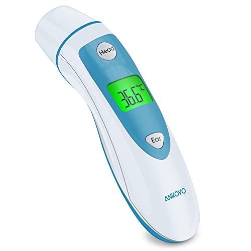 Termometro Infrarrojos, Termómetro Sin Contacto para Escanear en la Frente y el Oído, Termómetro Digital Apto para Bebés, Termómetro Frente con Pantalla LCD, Con Memoria