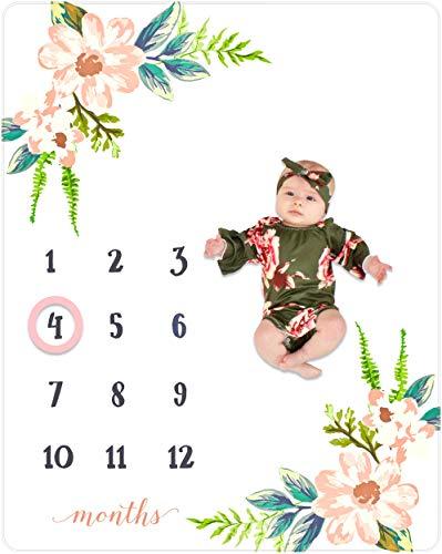 Nurture Bird Monthly Milestone Blanket Baby Girl, Photo Blanket for Newborn Baby Shower, Baby Milestone Blanket for Baby Pictures, Month Blanket, Includes Frame, Large 50'x40'