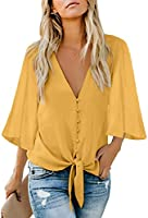 luvamia Women's Casual V Neck Tops 3/4 Sleeve Tie Knot Blouses Solid Button Down Shirts