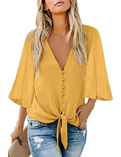 luvamia Women's V Neck Tops Ruffle 3/4 Sleeve Tie Knot Blouses Button Down Shirts, Yellow Button Down Size S