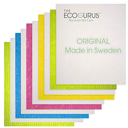 The EcoGurus Swedish Dishcloths for Kitchen, 10 x Assorted Colors, Multi-Surface, Cellulose & Cotton, Original Made in Sweden - Eco-Friendly, Reusable, Absorbent, No Odor, Cellulose Sponge Cloths