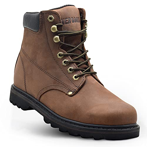 """EVER BOOTS """"Tank Men's Soft Toe Oil Full Grain Leather Insulated Work Boots Construction Rubber Sole (10.5 D(M), Darkbrown)"""