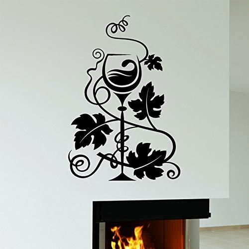 Opprxg Decoración del hogar Pegatinas de Pared Vidrio Vino Uvas Restaurante Cocina Mural Vinilo calcomanía Bar Interior Mural57x84cm