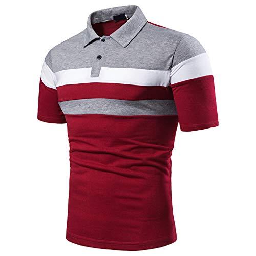Yowablo Herren Poloshirt Polo Polohemd Kurzarmshirt Shirt Basic Lässiges, schmales Kurzarm-Patchwork (5XL,1Rot)
