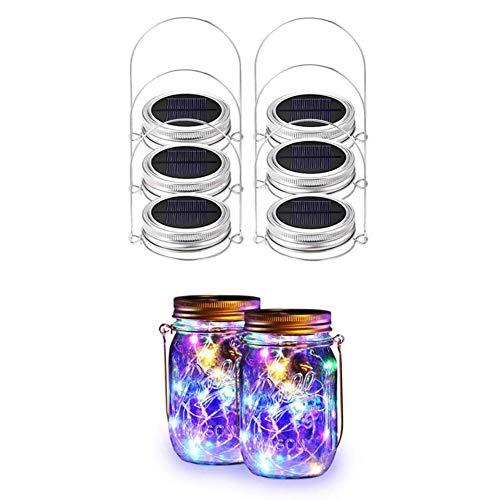 FEIDAjdzf Luz solar para tarro de cristal, 20 luces LED, 6 luces de tapa y 6 perchas para decoración al aire libre sin tarros
