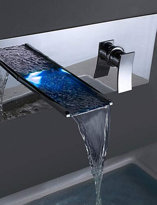 LPZSQ Tippen Sie auf zeitgenssische Messing verchromt Personalisierte Wandmontage LED Wasserhahn im Waschbecken im Bad - Silber  1194