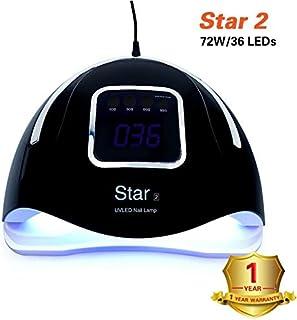 Xxadliy 72WUV LED Nail Light Nail Dryer LCD Display with Bottom Timer Nail Oven Gel Nail Light (Color : Black)