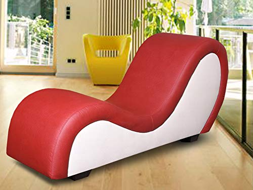 by nito XXL Sex Sofa Erotik Couch Gamer Sessel Tantra Love Toy (rot - Weiss, Kunstleder)