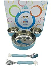 Kids Trends Cartoon Shaped Plate for Kids with Inner Steel,Pack of 1,Blue Colour