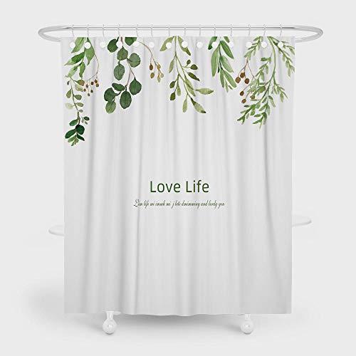 chuanglanja schimmelbestendig douchegordijn met bladbedrukt waterdicht douchegordijn van polyester zwaar lood 180 * 180cm Wit Groen