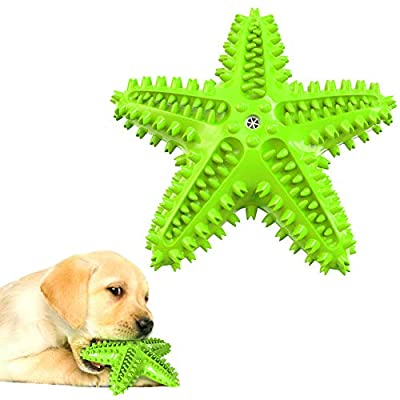 Dog Toothbrush Chew Toy for Teething Chewers Small Medium Breeds Puppy Dogs Durable Squeaky Sound Toys Interactive Throw Toy for Indoor Outdoor Play Teeth Cleaning Green