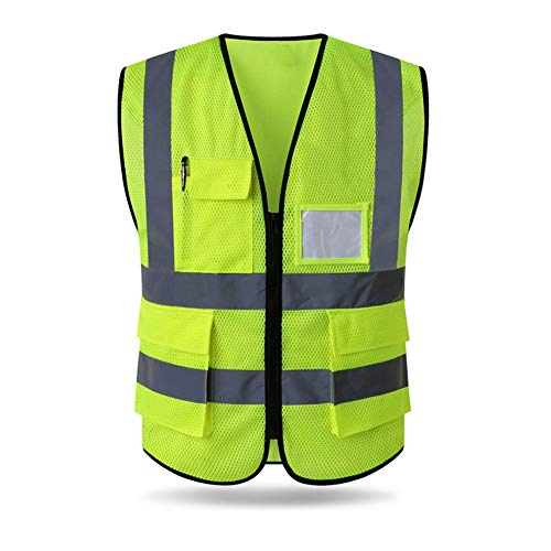HYCOPROT Reflective Safety Vest, High Visibility Mesh Breathable Workwear with Pockets and Zipper, Meets ANSI/ISEA Standards (L, Yellow)