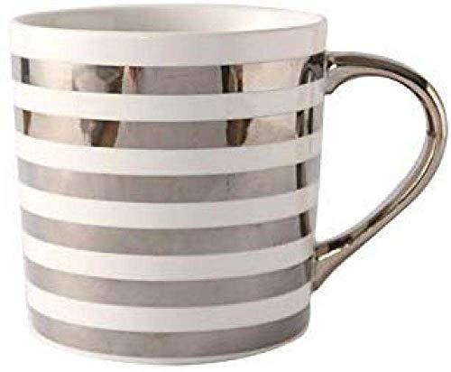 XUSHEN-HU Taza de la Leche de Oficina Taza par Mango Borde de Oro Regalo Taza de café de té con Leche 350ML de Plata té