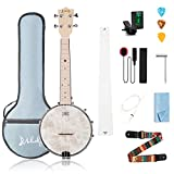Mulucky 4 String Banjo Ukulele Concert 23 Inch Remo Drumhead Maple Body With Truss Rod Gig Bag Tuner String Strap Picks - BU801