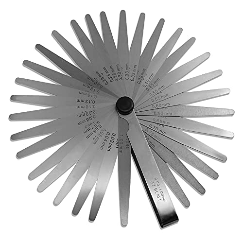 Spurtar Galga de Acero de 32 Cuchillas de Dobles Métrica Herramienta y Marcadade medición de calibre para medir ancho o espesor de la brecha