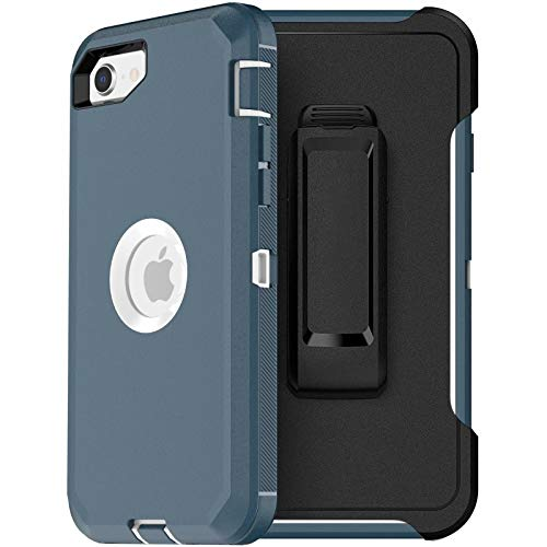 """Compatible for iPhone SE2 2020,[Built-in Screen Protector][Heavy Duty][Drop Protection] Tough Case for SE2 4.7"""" - with Holster/Clip Teal"""