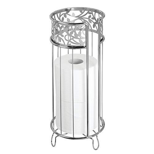 mDesign Dekorativer freistehender Toilettenpapierhalter mit Stauraum für 3 Rollen Toilettenpapier – für Badezimmer/Puderraum – hält Mega Rollen – robuster Metalldraht – Chrom