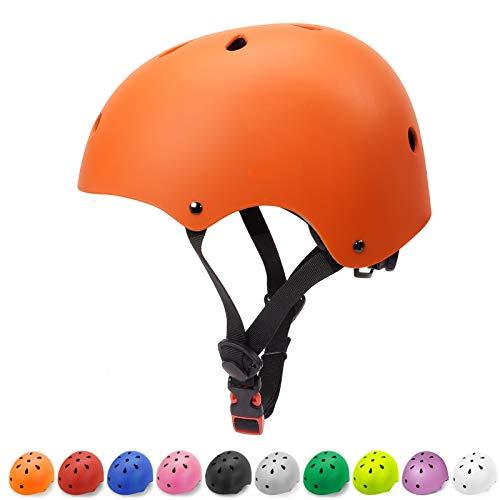 Kids Bike Helmet Toddler Helmet Multi-Sport Skateboard Cycling Helmet Impact Resistance Ventilation Adjustable Kids Helmet for Kids Youth(Orange,Small)