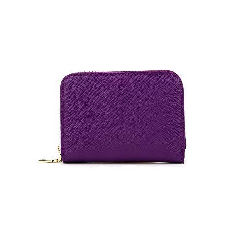 RFID Crédito Tarjetero, Monedero Multifuncional de con Cremallera para Mujer Hombre, Caja de Regalo (Púrpura)