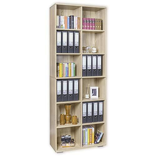mutatio Ordner Regal - Standregal - Bücherregal [Viel Platz für Ihre Unterlagen] - Aufbewahrungsregal - Sonoma-Eiche ca. B80,2cm x H214,7cm x T35cm   Bücherregal