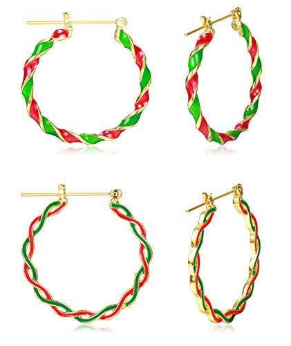 Sllaiss 2 Pairs 18K Gold Plated Christmas Hoop Earrings Set for Women Twist Hinged Hoop Earrings Christmas Jewelry Gift Diameter 38mm