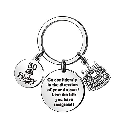30th Birthday Keyring with Three Pendants