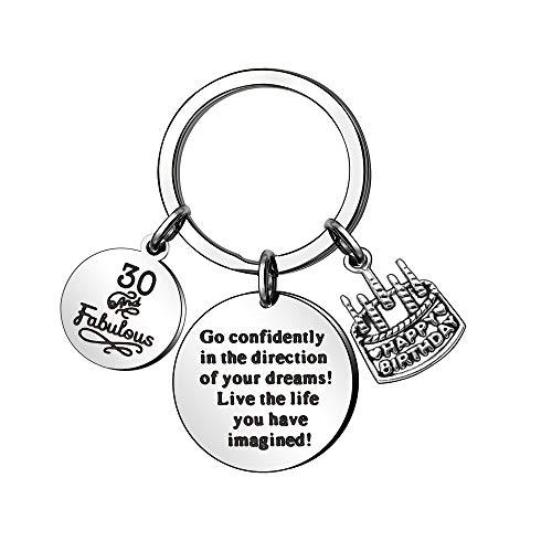 KENYG 13th 16th 18th 21st 30th 35th 40th 45th 50th 55th 60th 70th Anniversary Birthday Key Ring Key Chain for All (30)